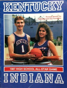 Mr. Basketball John Pelphrey of Paintsville and Miss Basketball Mary Taylor of Marshall County were on the cover of the 1987 game program.