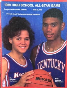 Mr. Basketball Allan Houston of Ballard and Miss Basketball Lisa Harrison of Southern were on the cover of the 1989 Kentucky-Indiana program.