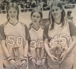 Laurel County's Sharon Garland (50), Bonnie Sizemore (30) and Vickie Hensley (50) made the Sweet Sixteen all-tournament team in 1977.