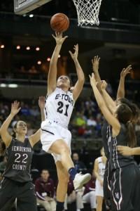 E-town's Erin Boley gets 2 of her xxx points against Henderson County. (Jim Osborn)