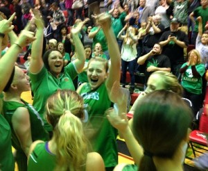 Whitney Creech leads the cheers after Friday's semifinal victory.