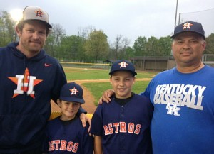 Austin Kearns, far left, with his son Aubrey. Keith Gadd, far right, with his son Tyler.