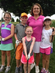 Myra Van Hoose Blackwelder with some of her golf students at ???. Left to right: Ava Hedden, Bradford Lacefield, Harper Lacefield and Ella Gould.